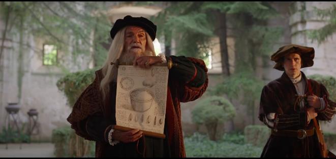Leonardo enseñando el boceto.