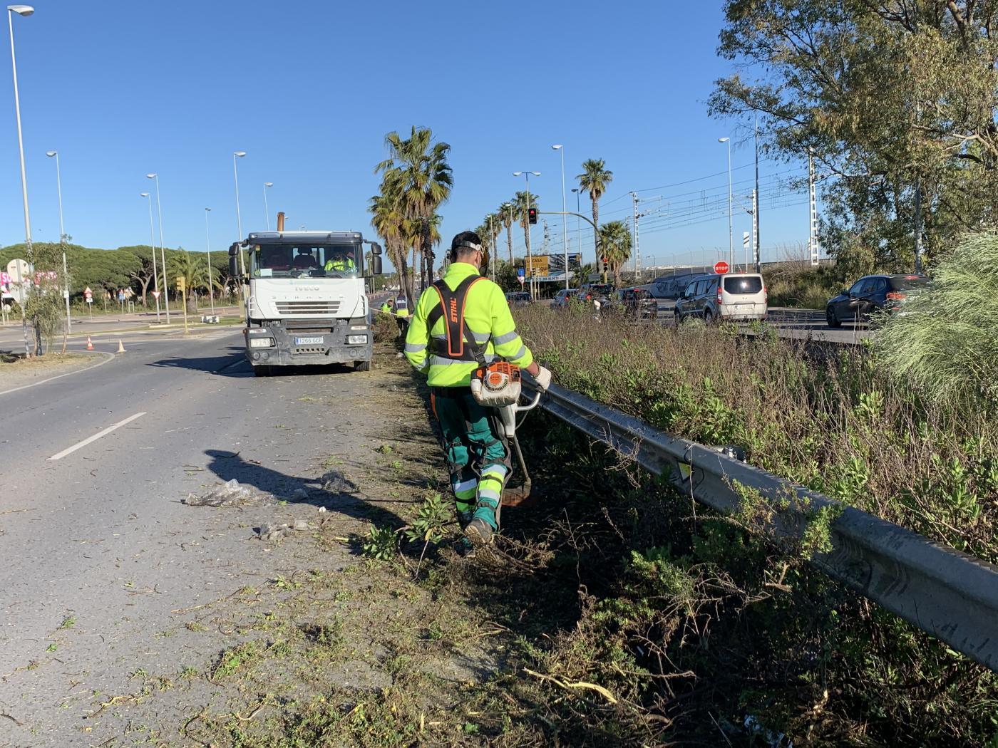 Actuaciones de limpieza integral de la mediana lindante con el Río San Pedro