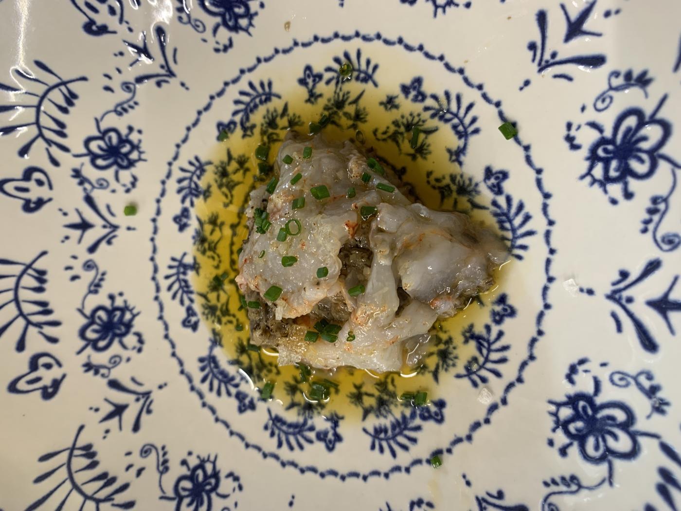 Ravioli de setas y gambas, uno de los platos ejecutados por el chef portugués.