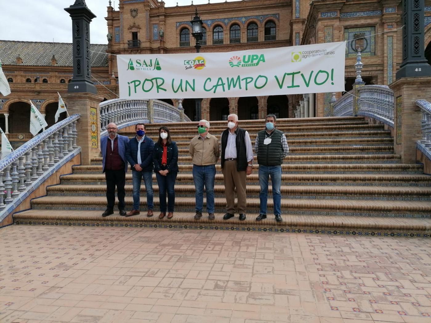 Protesta contra la PAC en la Plaza de España.