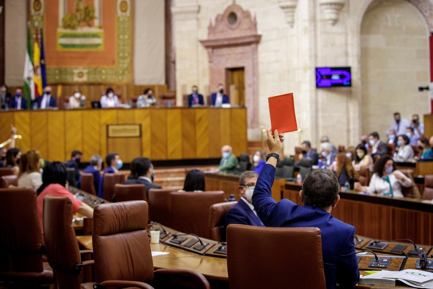 Salón de plenos del Parlamento andaluz.