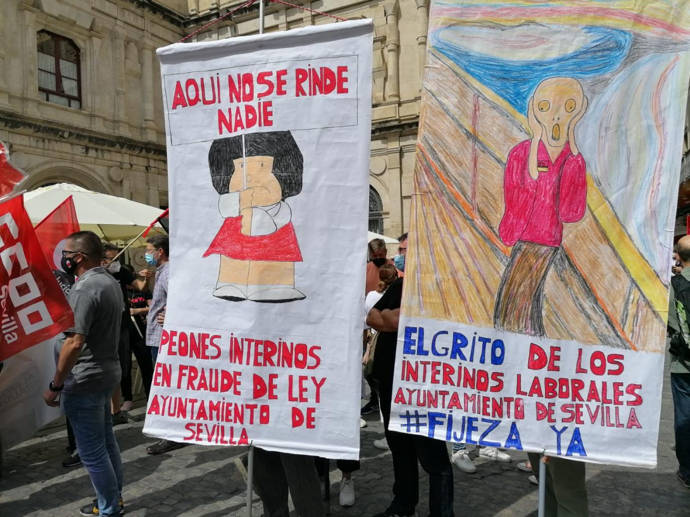 Protesta de empleados públicos en abuso de temporalidad en Sevilla.