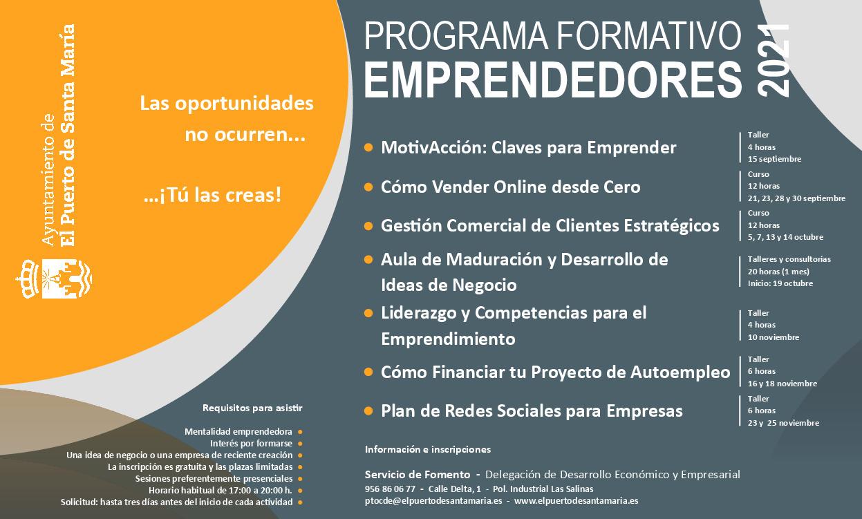 cartel programa formativo de emprendedores.