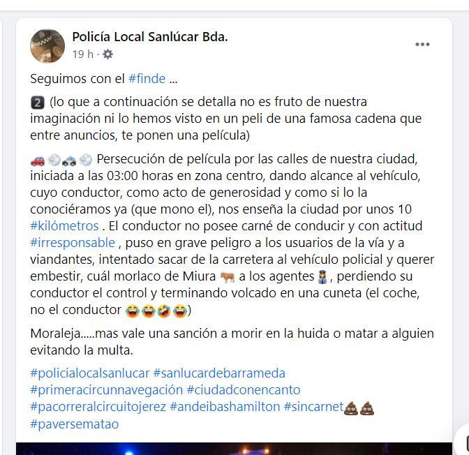 Publicación en Facebook de la Policía Local de Sanlúcar.